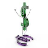 Dólar jubiloso los E.E.U.U. del carácter Fotos de archivo libres de regalías