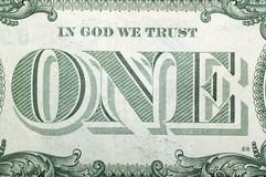 1 dólar los E.E.U.U., UNO Macro Fotos de archivo