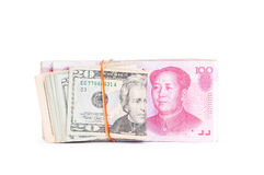 Dólar los E.E.U.U. y chino de RMB Imágenes de archivo libres de regalías