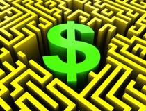 Dólar no labirinto ilustração royalty free