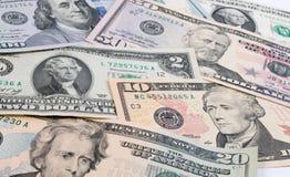 Dólar o billete de banco americano del dólar de EE. UU. en la tabla Foto de archivo libre de regalías