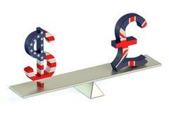 Dólar o libra esterlina, concepto de la balanza de USD/GBR Imagen de archivo libre de regalías
