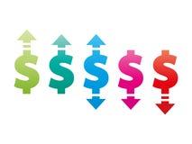 Dólar para cima e para baixo o ícone do sinal Imagem de Stock