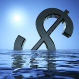 Dólar que afunda-se no mar Fotos de Stock