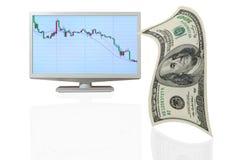 Dólar que cae. Imágenes de archivo libres de regalías
