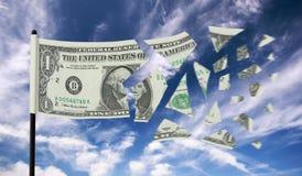 Dólar que rasga distante Imagem de Stock
