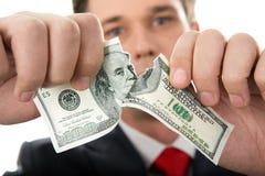 Dólar rasgado Foto de archivo