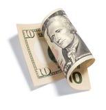 Dólar rodado Bill de diez Fotos de archivo libres de regalías