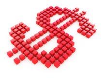 Dólar rojo de los cubos Imagen de archivo libre de regalías