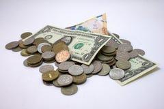Dólar, rublo rusa, tenge del Kazakh Fotografía de archivo libre de regalías