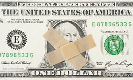 Dólar silencioso. Conceito financeiro de uma conta com dois emplastros Imagem de Stock