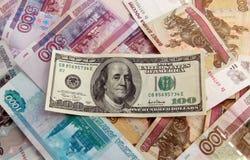 Dólar sobre o dinheiro extrangeiro imagem de stock royalty free