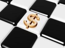 Dólar sobre o tabuleiro de xadrez Foto de Stock Royalty Free