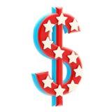 Dólar vermelho e azul americano com estrelas Imagem de Stock Royalty Free