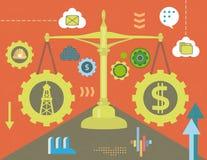 Dólar y aceite en equilibrio stock de ilustración
