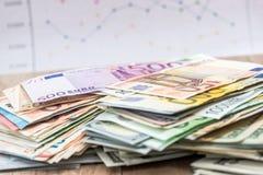 Dólar y billetes de banco euro Imagen de archivo