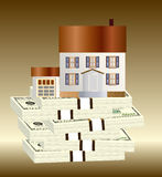 Dólar y casa Foto de archivo libre de regalías