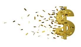 Dólar y efectivo del oro de la velocidad Foto de archivo libre de regalías