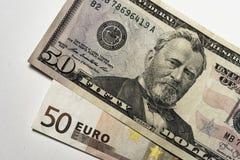 Dólar y euro imágenes de archivo libres de regalías