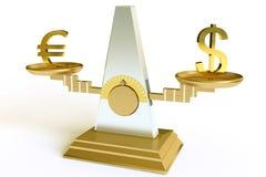 Dólar y euro Fotografía de archivo libre de regalías