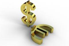 Dólar y euro Fotos de archivo