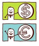 Dólar y euro ilustración del vector
