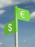 Dólar y euro Fotografía de archivo