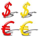 Dólar y euro Fotos de archivo libres de regalías