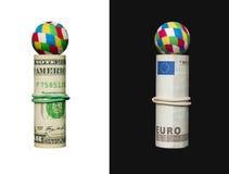 Dólar y euro, bola foto de archivo libre de regalías