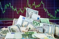 Dólar y euro en carta Fotos de archivo