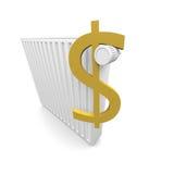 Dólar y radiador Fotografía de archivo