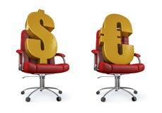 Dólar y silla euro de la oficina Fotografía de archivo libre de regalías