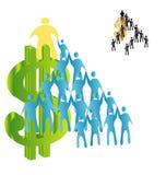 Dólar y una pirámide de la gente ilustración del vector