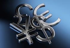 Dólar, Yenes o yuan, libra, muestras euro Imágenes de archivo libres de regalías