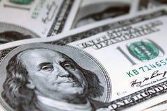 Dólares 100 de frente de los billetes de banco Foto de archivo libre de regalías