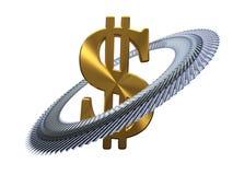 100 dólares alrededor de la muestra de dólar de oro ilustración 3D libre illustration