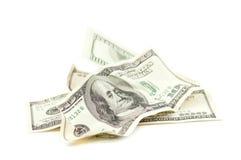 Dólares amarrotados Imagens de Stock