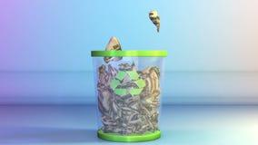 Dólares amarrotados que caem em um escaninho de lixo, metragem conservada em estoque ilustração do vetor