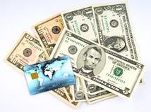 Dólares americanos com cartão de crédito Foto de Stock Royalty Free