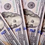 Dólares americanos de efectivo, primer de los billetes de banco Mucho cientos prohibiciones de USD Imágenes de archivo libres de regalías
