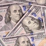 Dólares americanos de efectivo, primer de los billetes de banco Mucho cientos prohibiciones de USD Foto de archivo