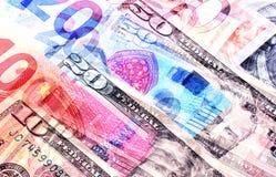 Dólares americanos do fundo do dinheiro e denominações diferentes do euro Imagem de Stock Royalty Free