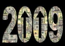 Dólares americanos do texto 2009 Fotografia de Stock