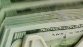 Dólares americanos em contar a máquina vídeos de arquivo