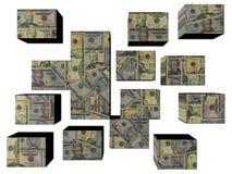 Dólares americanos em cubos Fotografia de Stock