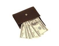Dólares americanos en carpeta marrón abierta Fotografía de archivo libre de regalías
