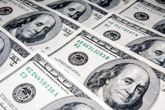 Dólares americanos en denominaciones de 100 Fotografía de archivo