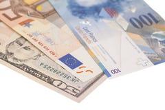 Dólares americanos, euro europeo, moneda del franco suizo Imagen de archivo
