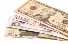 Dólares americanos, euro europeo, yuan chino y rublo rusa Imagen de archivo