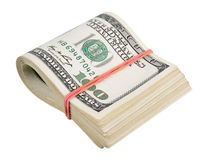 Dólares americanos isolados em um branco Fotos de Stock